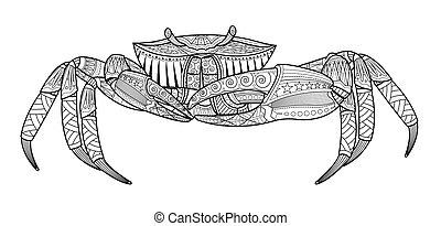 animal, mar, mão, desenhado, carangueijo