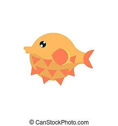animal, mar, vida marina, fauna, caricatura, globefish
