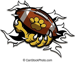 animal mascot claw ripping through the background holding football with paw print for school, college or league