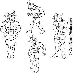 animal mascots - bull, goat, buffalo