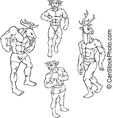 animal mascots - elk, goat, deer