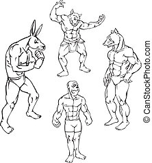 animal mascots - rabbit, ape, boar