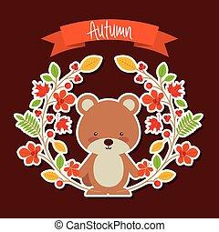 animal, mignon, automne