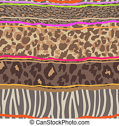 animal mix pattern - seamless vector background