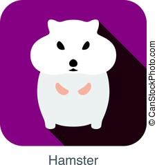 animal mouse hamster cartoon, flat icon, vector