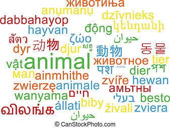 animal multilanguage wordcloud background concept