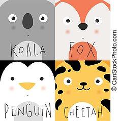 Animal muzzles koala, fox, penguin, cheetah