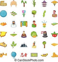 Animal of earth icons set, cartoon style - Animal of earth...