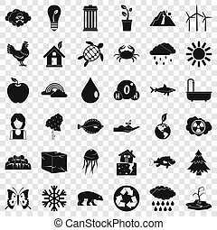 Animal of earth icons set, simple style