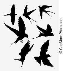 animal, oiseau, hirondelle, silhouette