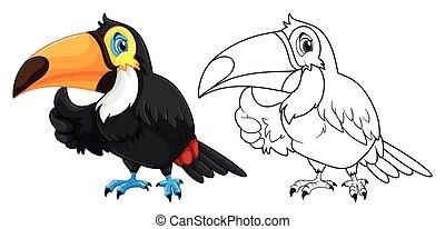 animal, oiseau, toucan, griffonnage