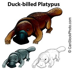 Animal outline for duck-billed platypus illustration