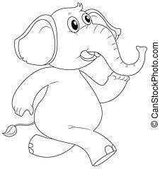 Animal outline for elephant running