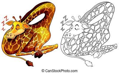Animal outline for giraffe sleeping illustration