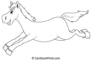 Animal outline for horse running