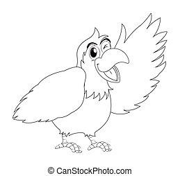 animal outline for parrot bird