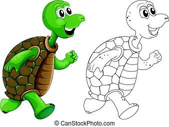 Animal outline for turtle running