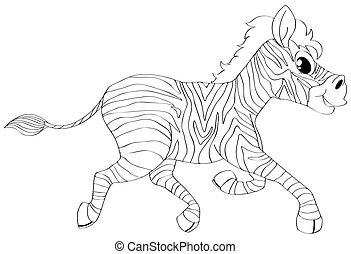 Animal outline for zebra running