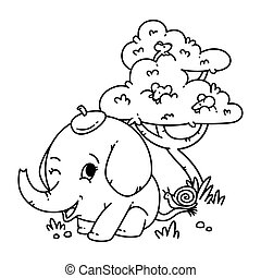 animal, page, éléphant, blanc, vecteur, queue, chapeau, souris, coloration, escargot, illustration, arrière-plan., book., arbre., caractère, dessin animé, isolé