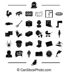 animal, paintball, recreation and other web icon in black style. architecture, child icons in set collection.