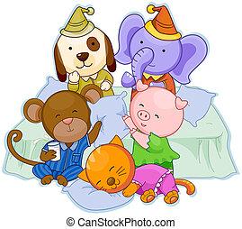 Pajama Party - Animal Pajama Party with Clipping Path