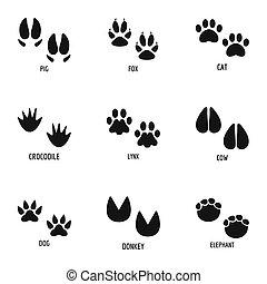Animal paw icons set, simple style