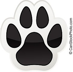 Animal Paw Print Isolated on White. Icon. Vector. ...