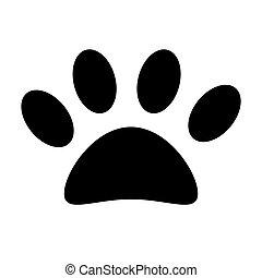Vector illustration black silhouette of animal paw print icon. Dog footprint