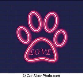 Animal Paw Print with love Neon