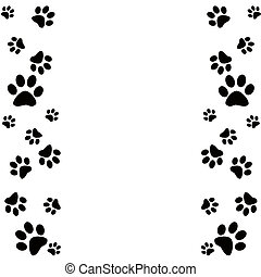Animal paws border in black and white