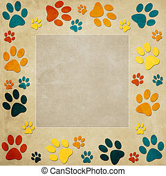 Animal paws   frame in orange, blue, yellow, beige