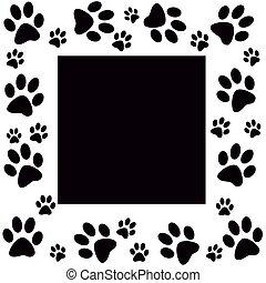 Animal paws  monochrome frame