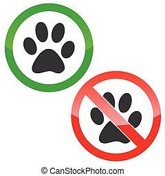 Animal permission signs set