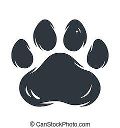 Animal pet cat or tiger paw footprint