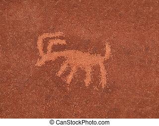 Animal Petroglyph - Ancient American Indian petroglyph on a ...