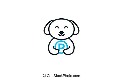 animal pets dog cute line  with park logo vector icon design