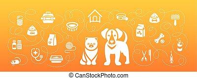Animal Pets Grooming and Healthcare Flat Horizontal Header Banner