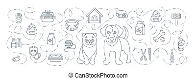 Animal pets grooming and health care flat thin line vector horizontal header banner. Background with linear icons of cat and dog, food, toys and accessories. Pet shop, vet clinic concept