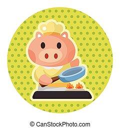 animal pig chef cartoon theme elements