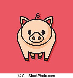 animal pig vector icon