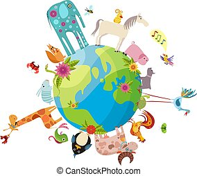 animal planet - animals, bee, bird, bunny, butterfly,