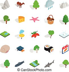 Animal planet icons set, isometric style