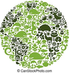 Animal planet - Green globe outline made from birds, animals...