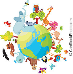 animal planet - vector illustration of a animal planet