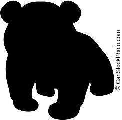animal., poco, silueta, panda., lindo, joven