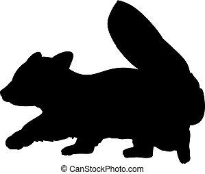 animal., poco, silueta, panda., rojo, lindo, joven