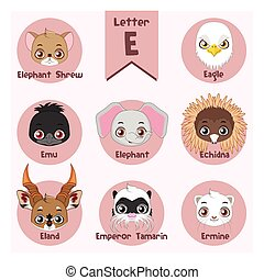 Animal portrait alphabet - Letter E