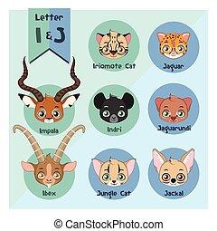 Animal portrait alphabet - Letter I and J