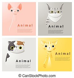 Animal portrait collection with cats 2