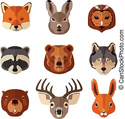 Animal portrait flat icon set - Forest animal portrait flat...